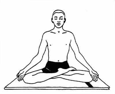 поза полулотоса, медитация, как расслабиться