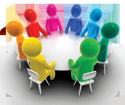 круглый стол, люди за столом, общение