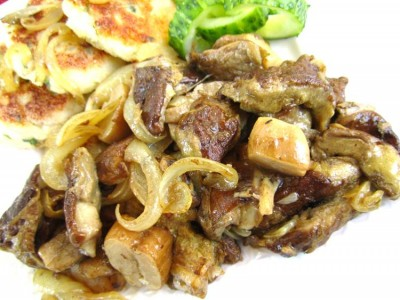 белые грибы с луком, как готовить, вид