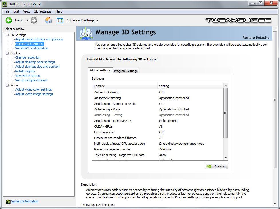 nvidia control panel 3d settings
