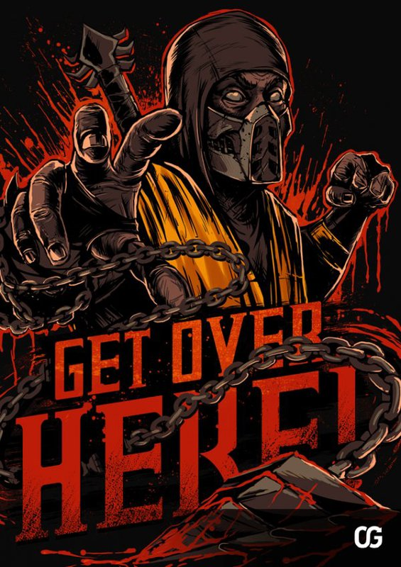 mortal kombat x logo, scorpion on logo, логотип игры со скорпионом, get over here