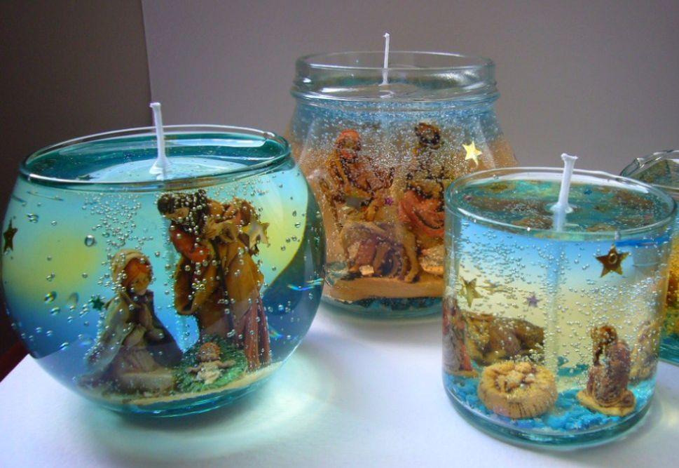 прозрачные гелевые свечи с украшением