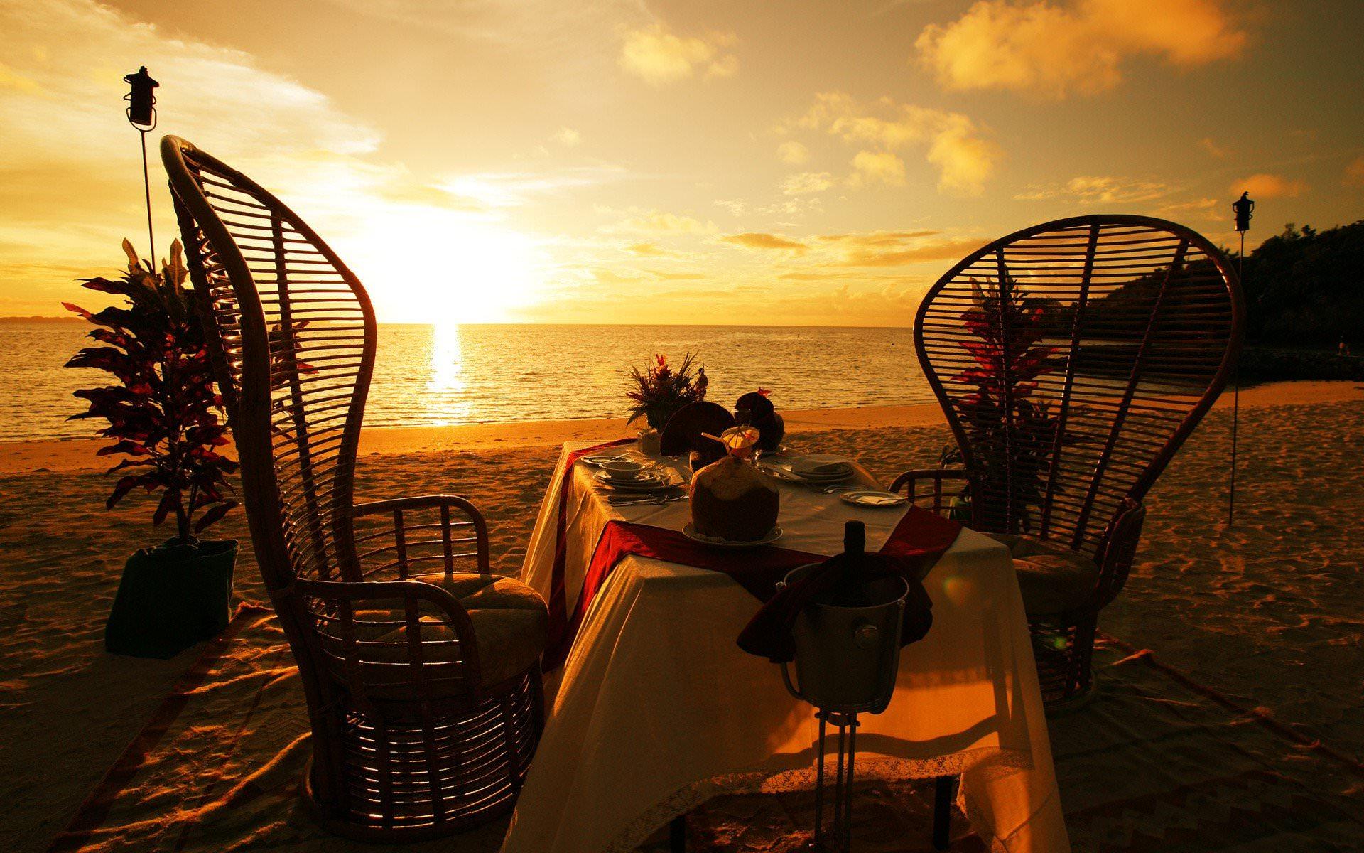 романтика на пляже, закат