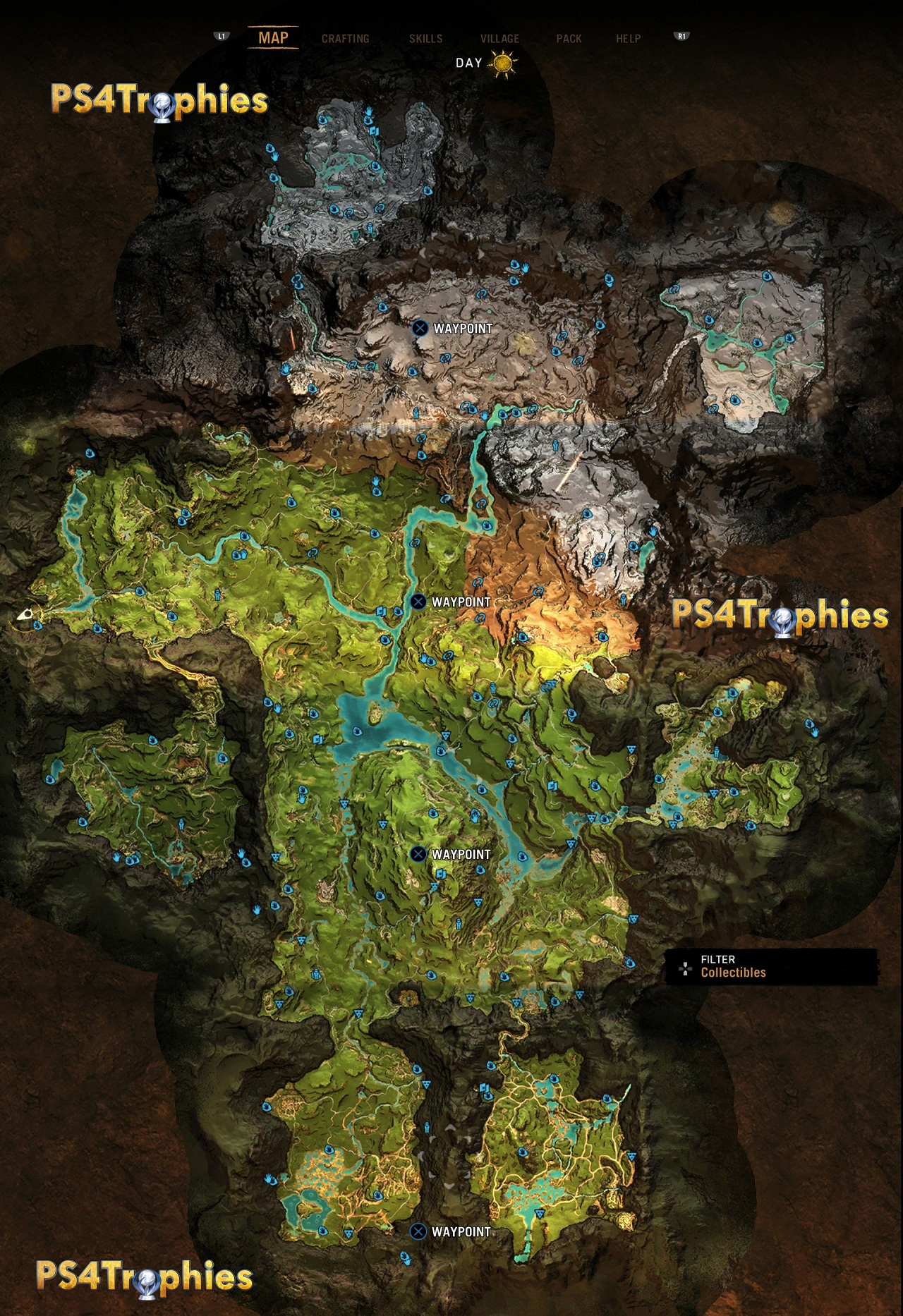 Far Cry Primal - карта предметов, рук, браслетов, рисунков, масок
