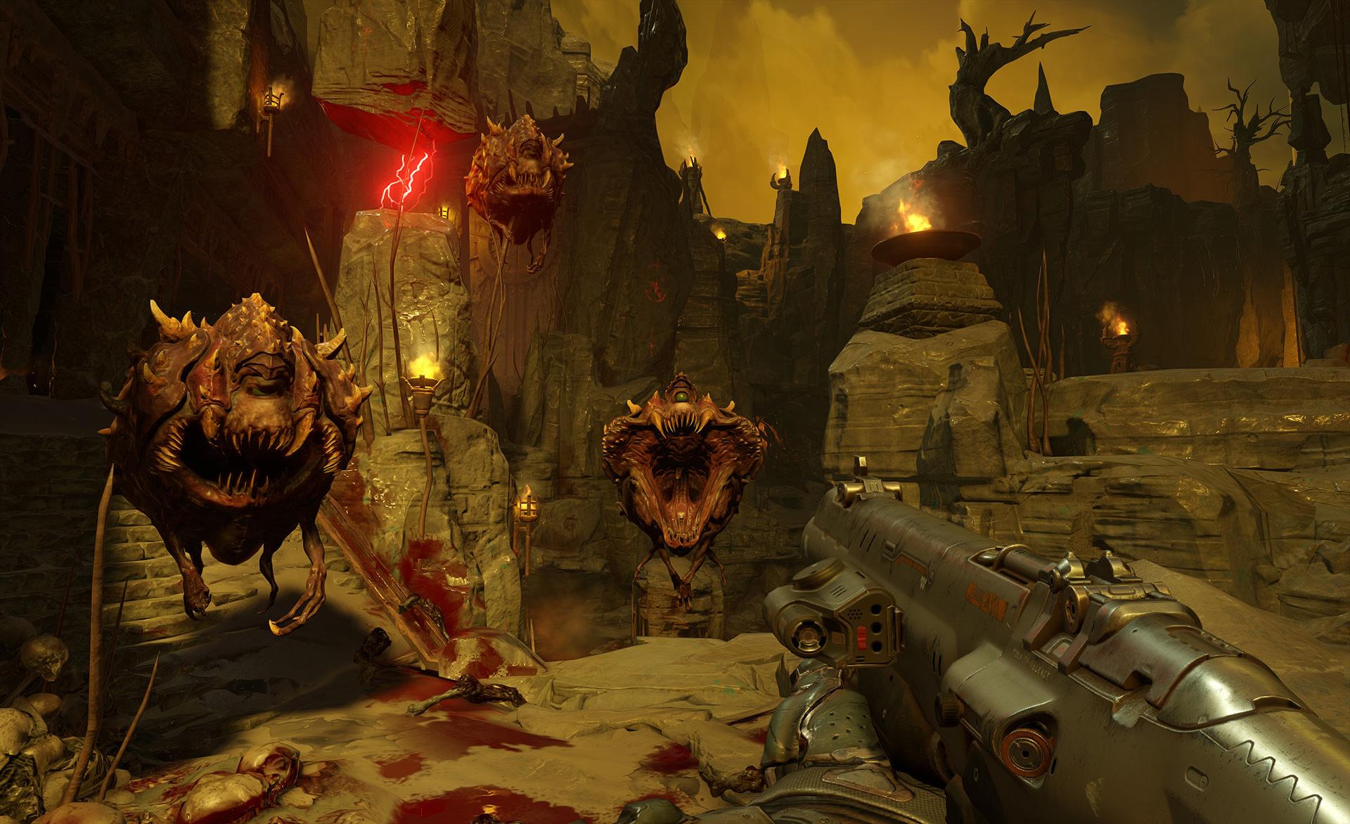 doom 2016, скелет с оружием, необычные и пугающие монстры в играх