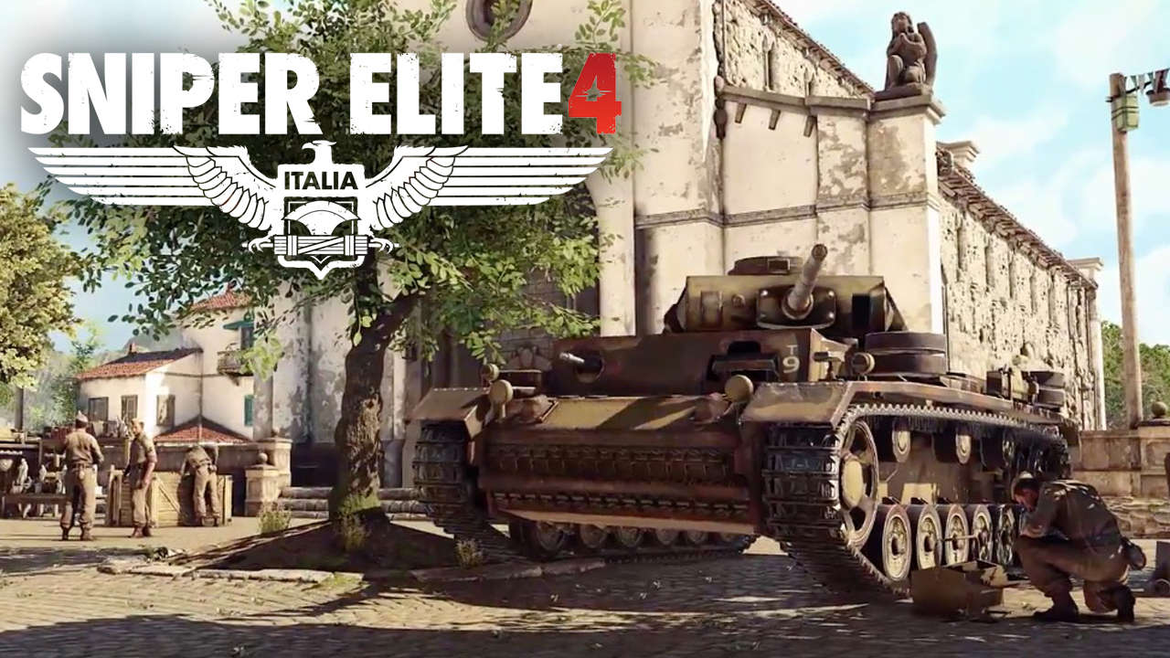 sniper elite 4, логотип, танк, геймплэй, скриншот