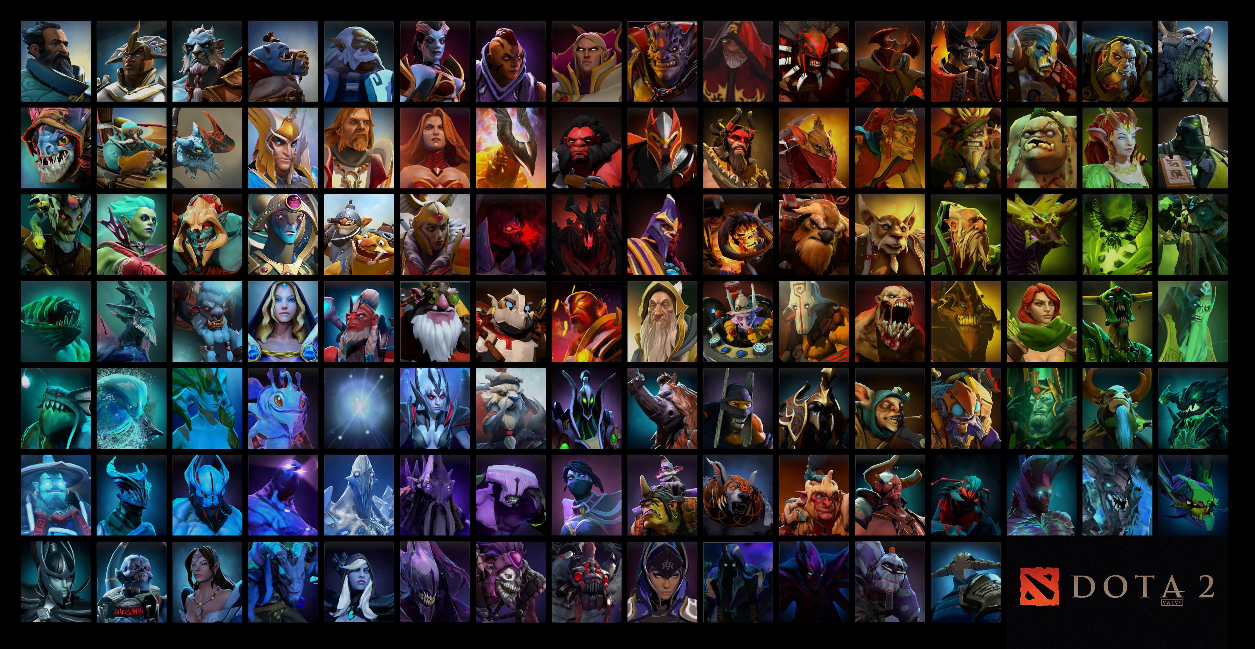 dota 2 все герои, обои, грамотный пик героя в доте